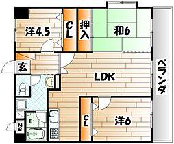 ライオンズマンション皇后崎公園[8階]の間取り