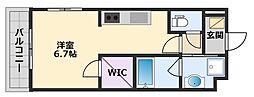 阪神本線 甲子園駅 徒歩20分の賃貸マンション 2階1Kの間取り