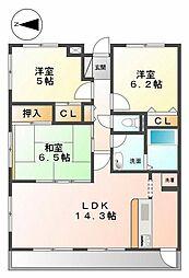 グランパティオ甲子園[4階]の間取り
