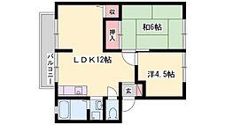 兵庫県加古川市加古川町粟津の賃貸アパートの間取り