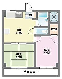 第2むさしマンション[402号室]の間取り