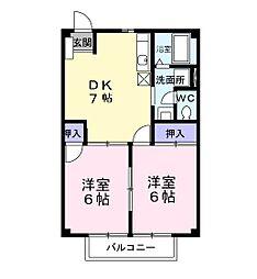 アメニティコーポA棟[2階]の間取り