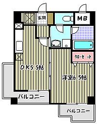 大阪府堺市堺区北三国ヶ丘町5丁の賃貸マンションの間取り