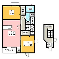 メゾンサンローゼA[2階]の間取り