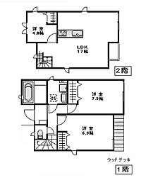[一戸建] 東京都新宿区若葉2丁目 の賃貸【/】の間取り