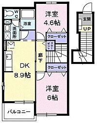 東京都あきる野市高尾の賃貸アパートの間取り