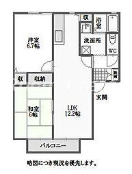 徳島県徳島市北矢三町4丁目の賃貸アパートの間取り