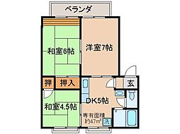 京都府京都市山科区椥辻番所ケ口町の賃貸アパートの間取り