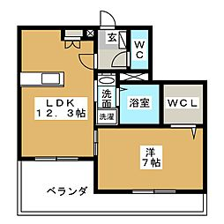 M・ラシーネ[1階]の間取り