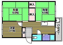 北野田マンション巽A棟[2階]の間取り