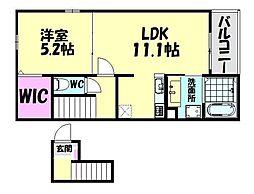 阪堺電気軌道阪堺線 石津北駅 徒歩6分の賃貸アパート 2階1LDKの間取り