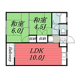 京成本線 京成佐倉駅 徒歩17分の賃貸アパート 1階2LDKの間取り