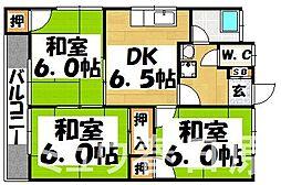 福岡県春日市上白水1丁目の賃貸アパートの間取り