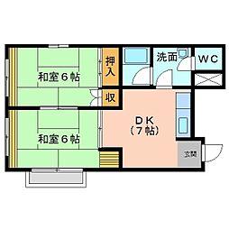 城北第2ビル3階西側[3階部分号室]の間取り