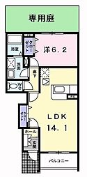 大阪府枚方市出屋敷元町1丁目の賃貸アパートの間取り