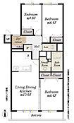 間取図/専有面積69.24m2 バルコニー面積7.20m2、リフォーム済(アフターサービス保証付)、北側洋室2部屋は2重サッシです。