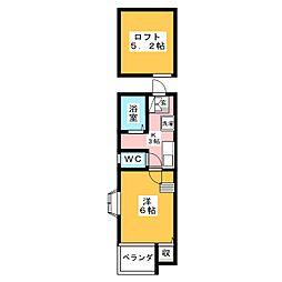 ピュア高宮参番館[1階]の間取り