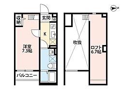 JR阪和線 杉本町駅 徒歩6分の賃貸アパート 1階1Kの間取り