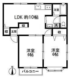 西武池袋線 大泉学園駅 徒歩18分の賃貸アパート 2階2LDKの間取り