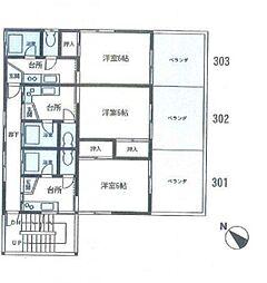 ミユキハウス(リフォーム済み)[3階号室]の間取り