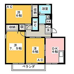 ハートホーム山本A[3階]の間取り