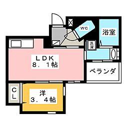 クリスタルテラス本山 7階1LDKの間取り