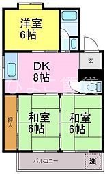 シャトー天子田[3階]の間取り