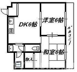 大阪府大阪市住吉区長居西2丁目の賃貸マンションの間取り