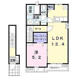 JR相模線 香川駅 徒歩16分の賃貸アパート 2階1LDKの間取り