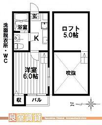 愛知県名古屋市南区西桜町の賃貸アパートの間取り