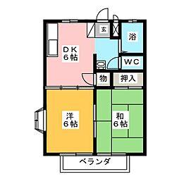 ユーロハイツK2[2階]の間取り