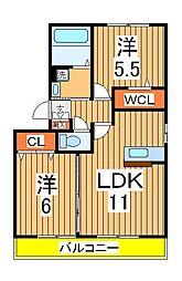 エクレールB[3階]の間取り