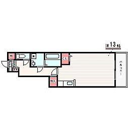 メルベーユ神戸 1階ワンルームの間取り