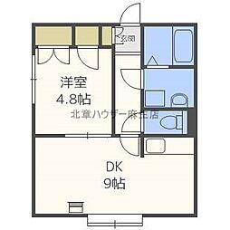 北海道札幌市北区北三十六条西6丁目の賃貸アパートの間取り