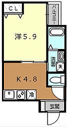 大阪府堺市堺区南安井町5丁の賃貸アパートの間取り