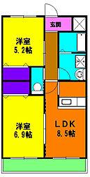 静岡県浜松市東区子安町の賃貸マンションの間取り