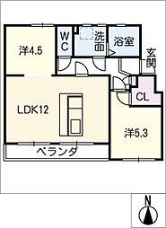 なるみグリーンコーポ6号棟[3階]の間取り