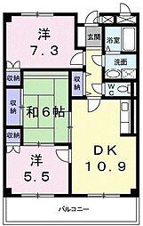 東京都八王子市大和田町1丁目の賃貸マンションの間取り