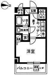 YAMATE 3階1Kの間取り