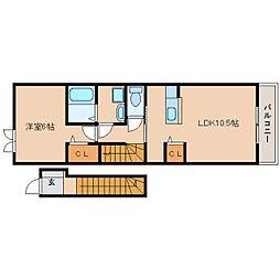 近鉄天理線 天理駅 徒歩13分の賃貸アパート 2階1LDKの間取り