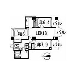 広島県広島市安佐南区大塚西3丁目の賃貸マンションの間取り