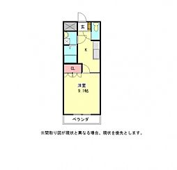 愛知県一宮市富塚字郷中の賃貸アパートの間取り