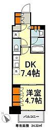 東京メトロ有楽町線 豊洲駅 徒歩9分の賃貸マンション 19階1DKの間取り