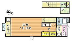 福岡県北九州市小倉北区高浜2の賃貸アパートの間取り