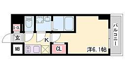 エスリードザ・ランドマーク神戸 6階1Kの間取り