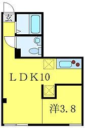 JR山手線 池袋駅 徒歩13分の賃貸マンション 1階1LDKの間取り