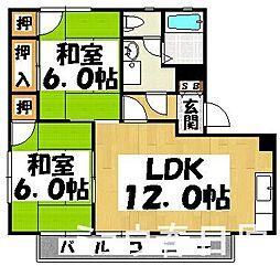 福岡県春日市須玖北7丁目の賃貸アパートの間取り