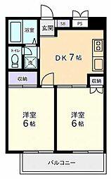 東京都国分寺市光町2丁目の賃貸マンションの間取り