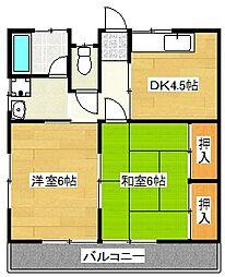 猪口アパート[201号室]の間取り