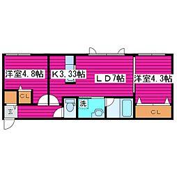 北海道札幌市東区北四十五条東15丁目の賃貸マンションの間取り